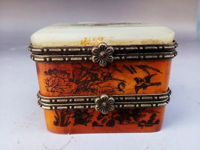 Collection China Hand Engraving Wood Mosaic Jade Jewelry Box