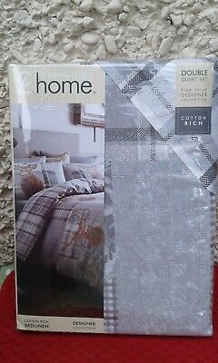 Catherine Lansfield Heritage Double Grey Stag Cotton Rich Duvet Cover Set New