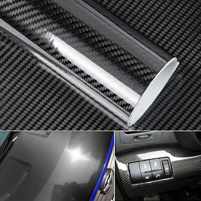 5D Glossy Carbon Fiber Wrap Vinyl Decal Film Sticker Car Air Release Wrap Black