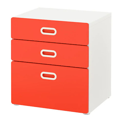 FRITIDS/STUVA  Chest of 3 drawers, 60 x 64 cm, white chest n many color drawers