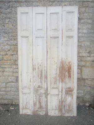 VINTAGE WOODEN FRENCH  WINDOW SHUTTERS Bi Folding PAIR 211cm tall RECLAIMED