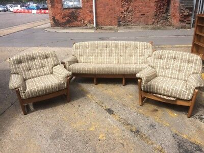 Ercol 3 Piece Suite Stitched Pattern Light Wood Teak Genuine Ercol Wooden Sofa