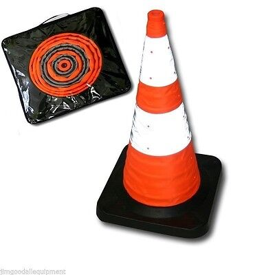 "Traffic Safety Cone, Collapsible,28""Tall,w/4 LED Lights,Solid/50 Flashes per min"