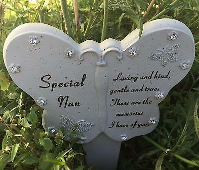 Special Nan Memorial Butterfly Stick Plaque Tribute Spike Graveside Marker Stake