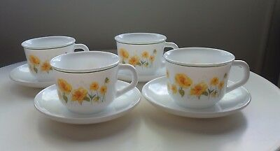 Vintage Retro Arcopal France Cup & Saucer Duos x 4 *Yellow Jonquil Daffodil Patt