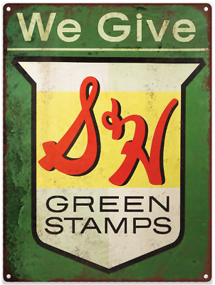 """S&H Green Stamps Metal Sign Ad Repro 9x12"""" 60222"""