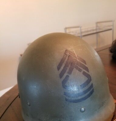 1950s US ARMY NAMED WESTINGHOUSE HELMET LINER - MSG. SMITH, PAUL H 15100552 WWII