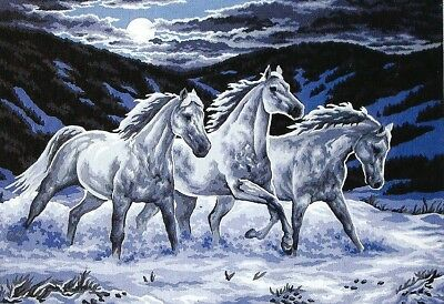 MOONLIGHT GALLOP Horse Tapestry 60 X 80 CM- CANVAS TO STITCH!