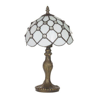 """Cloughton 8"""" Tiffany Antique Brass Lamp with Beaded White Shade Vintage setting"""