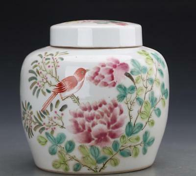 Chinese Famille Rose Porcelain Tea caddy painted Flower bird Verse Pot Have mark
