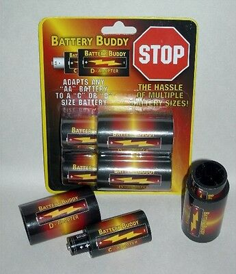 Battery Buddy™ Adapter Converter-16 Pieces-8 AA to C + 8 C to D Battery Adapters