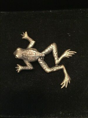 Vintage Hinged Frog Brooch Pin From An Estate