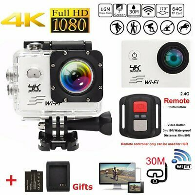 4K 16MP Ultra HD Sports Action Camera Wifi LCD Waterproof 2 Batteries For Gopro