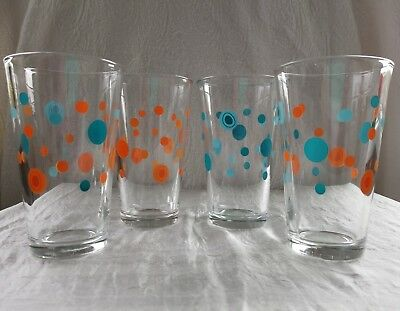 Libbey Polka Dot Drinking Glasses Tumblers Mid Century Set 4 Vintage Collectible