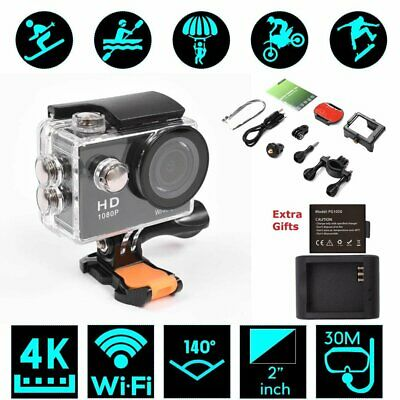 Sports Action Camera Ultra HD WiFi Waterproof 2 Rechargeable Battery As Gopro