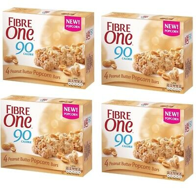 Four Fibre One 90 Calorie Peanut Butter Popcorn Bar 4 packs /total 16 bars @ 21g
