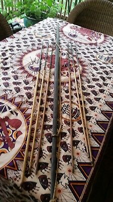 Antique African 19 Century Bow and 6 spears