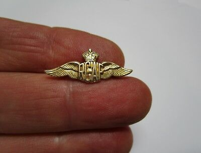 Tiny RCAF Royal Canadian Air Force Sterling GF Wings Lapel Pin Sweetheart Brooch