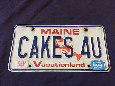 "1990's Maine ""CAKES 4 U"" Cakes For You Vintage Vanity License Plate*"
