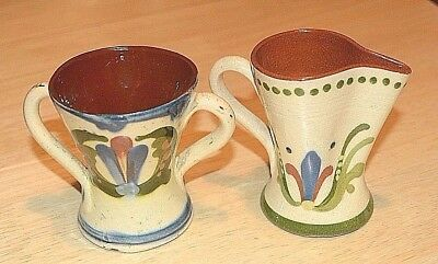 Devon Motto Ware Aller Vale two handled cup and pinch neck jug