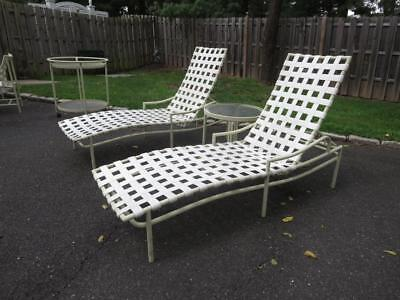 Vintage Brown Jordan Folding Patio Pool Chairs Tables Chaise Lounge