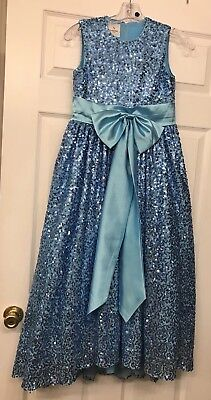 Girls size 14 Wedding Bridesmaids Flower Girl Sequin Ball Gown Dress