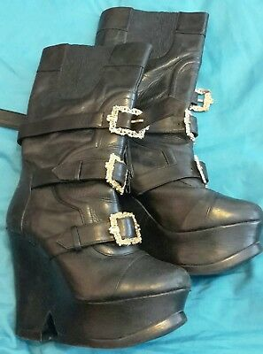 PPQ at Office demetrius boots sz 5 goth gothic platform pirate gold buckle black