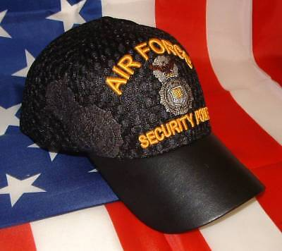 United States Air Force Security Police Air Mesh Embroidered Black Ball Cap  Hat. 1d492fe7255