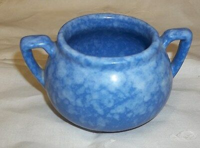 "Vintage Dickota Pottery Blue Mottled Glaze Sugar Bowl 3"" X 3"""