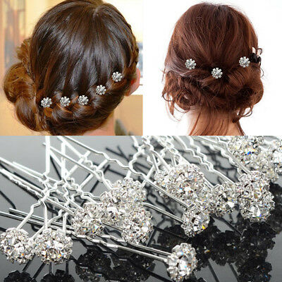 5pcs  Diamante Rhinestones Crystal Bridal Wedding m Hair Pins Clips NEW