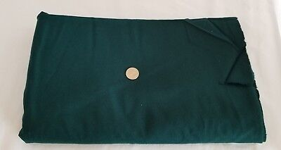 "Vintage Wool Fabric Solid Hunter Green 62"" W x 2 YARDS Small Cut"