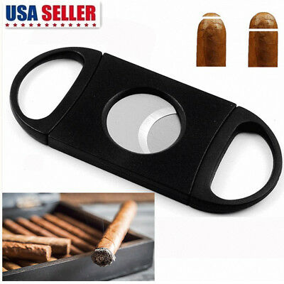 2Pcs Cigar Cutter Stainless Steel Double Blades Guillotine Knife Pocket Scissors