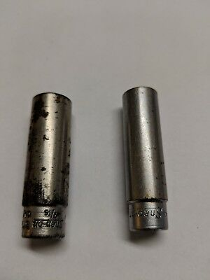 Snap On STM14 and STM12 1/4 inch drive 7/16 + 3/8 6 point deep socket