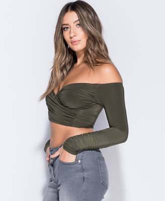 fe40d4d15719 WOMENS RUCHED LONG Sleeve Bardot Off the Shoulder Wrap Cross Front ...