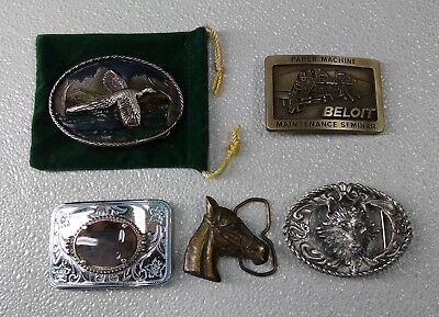 LOT OF 5  VINTAGE BELT BUCKLES, Bronze, Brass, Pewter
