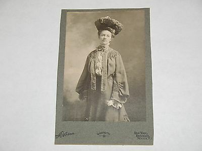 1890s CABINET PHOTO~ SUPER FANCY LADY ~ by DANA, NEW YORK ~CARBONETTE PHOTO