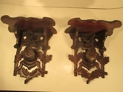 Pair Of Antique Black Forest Carved Wood Wall Brackets with Deer/Antelope Head