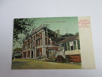 Postcard Ruins of Theatre Royal, destruction of Kingston, Ja. by Earthquake & Fi