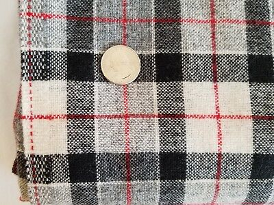 Vintage Wool Blend Fabric Plaid Black White Gray Red 2 YDS