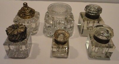 Lot Of 6 Vintage Glass Inkwells With Lids