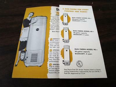 Vintage 1943 Duo-Therm Automatic Oil Water Heater Dealer Brochure Pamphlet N