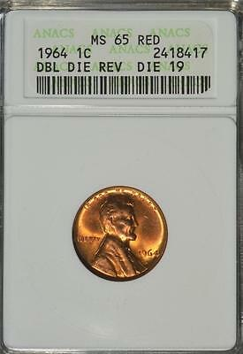 1964P ANACS MS65 RD Lincoln Cent Penny FS801 Double DDR Doubled Die