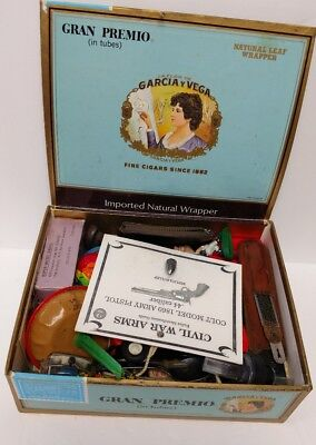 Junk Drawer Lot Vintage Toys Coin Cards Keys Cigar Box Of Old Stuff