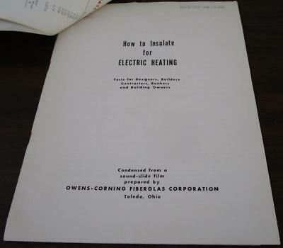 1959 Owens-Corning Fiberglass How To Insulate Electric Heating 18 Pg Catalog N