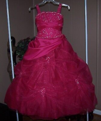 TIFFANY. Beautiful Long Pageant Dress Girls Sz8  SPARKLES