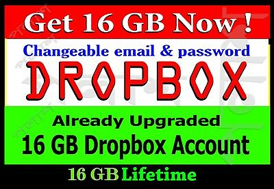 Dropbox service 16 GB Pre Upgraded account - PERMANENT STORAGE - Lifetime Usable