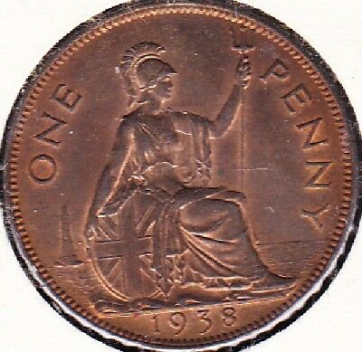 1938 Great Britain 1 Penny Coin Ms-62