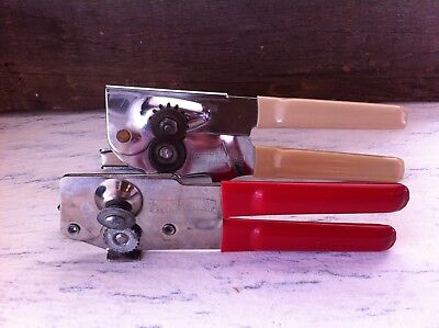 2 Vintage Swing-A-Way Can & Bottle Openers Rubberized Handles Red~Almond USA