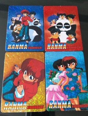 Vintage 90s Lot of 4 Ranma Nibunnoichi Foil Stickers With Card Backs