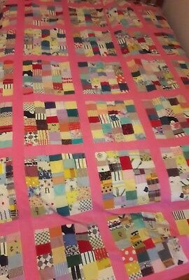 Vintage 1950's Patchwork Machine Sewn Quilt Top Curtain Panel 64X102